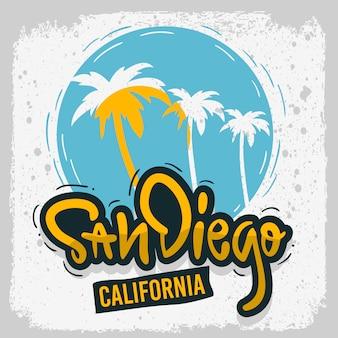San diego california surf surf design tipo di iscrizione disegnata a mano logo sign label per immagine di poster o maglietta annunci promozione