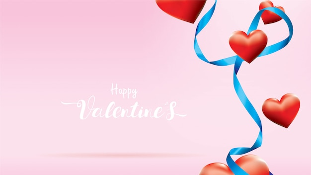 San valentino 3d colorful red romantic hearts shape flying