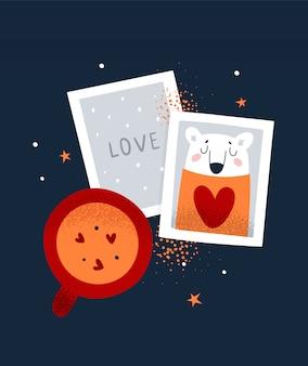 San valentino, amore piatto fumetto illustrazione per poster
