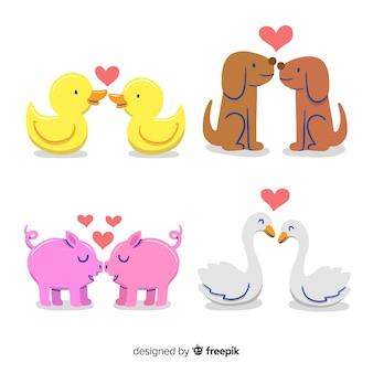 San valentino che bacia il pacchetto di coppia animale