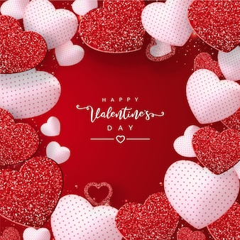 San valentino con effetto glitter cuori rossi su rosso