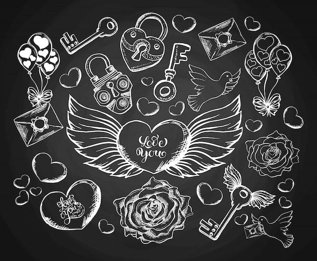 San valentino con incisioni con busta, cuori, ali, colomba e rosa.
