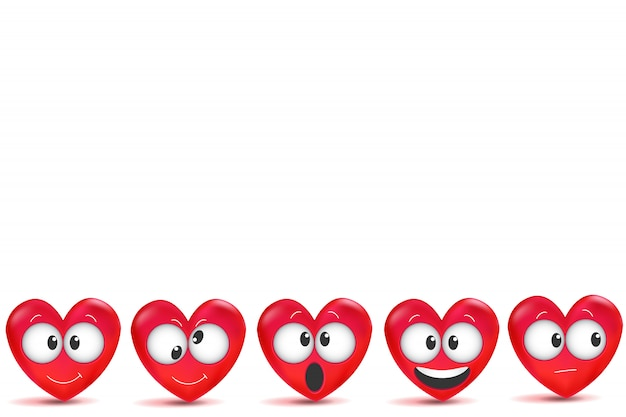 San valentino con scritte fatte a mano e cuori rossi 3d con tratto di pennello.