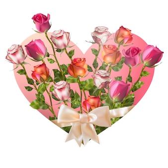 San valentino cuore con rose su sfondo bianco. file incluso