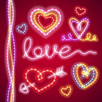 San valentino cuori al neon