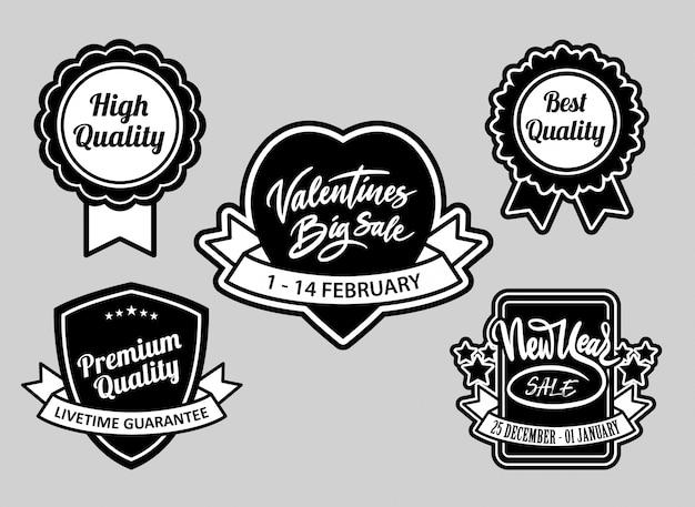 San valentino e la vendita di eventi, distintivi di qualità migliore in bianco e nero buon uso per il logo