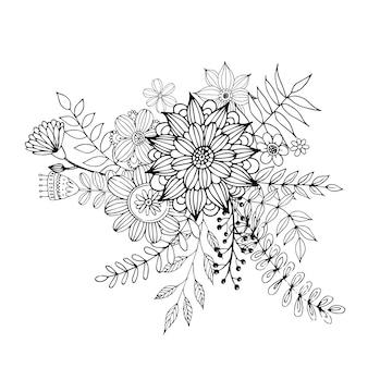 San valentino felice con il vettore di stile del libro da colorare del mazzo di scarabocchio del fiore.