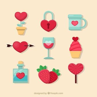 San valentino piatto elementi pacchetto di giorno