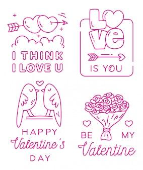 San valentino saluto distintivo in stile linea