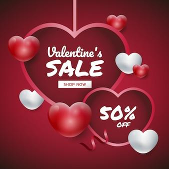 San valentino sfondo appeso cuori con testo. cuori 3d rossi e bianchi. banner di promozione