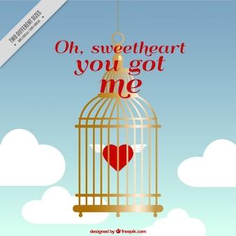 San valentino sfondo con cuore dentro una gabbia d'oro
