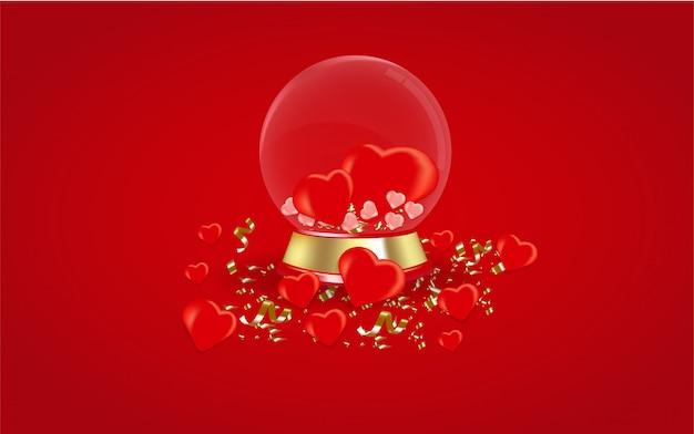 San valentino sfondo con globo di vetro.