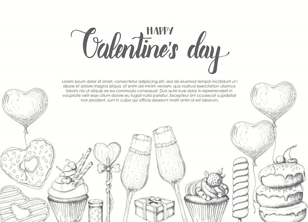 San valentino sfondo con oggetti disegnati a mano doodle in stile schizzo-lecca-lecca, ciambella smaltata, bicchiere di champagne, scatole regalo, torta e cupcake. buon san valentino - lettering frase calligrafia