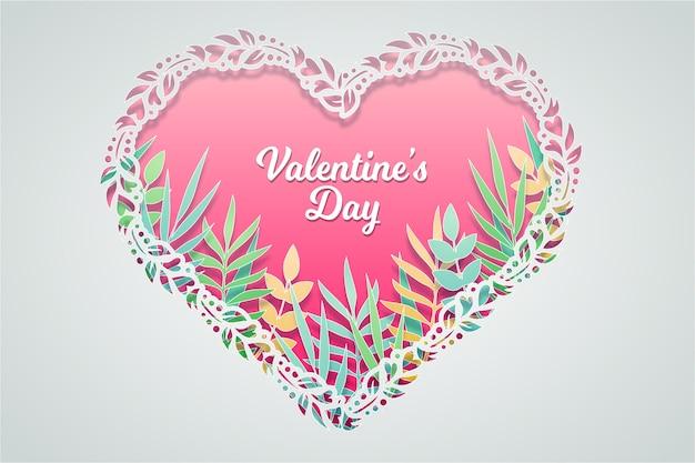 San valentino sfondo in stile carta con foglie