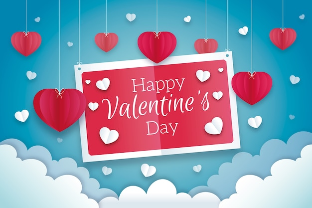 San valentino sfondo in stile carta