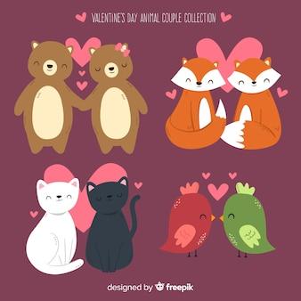 San valentino sorridente collezione di coppie animali