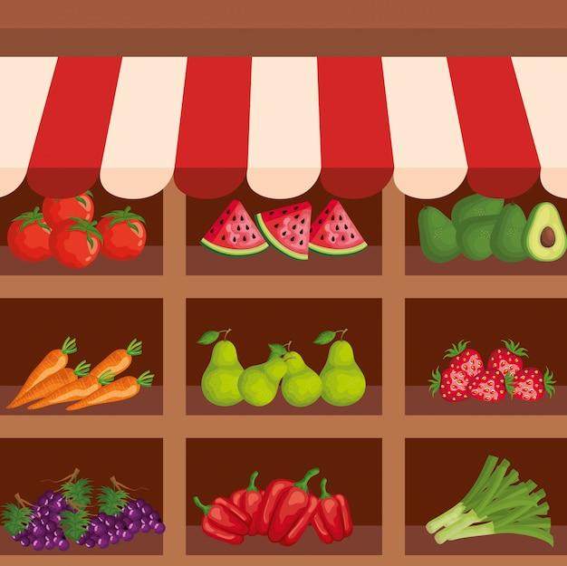 Sana frutta e verdura prodotti freschi