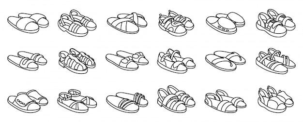 Sandalo moda impostato su bianco