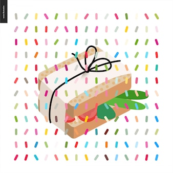 Sandwich avvolto in carta con il filo del pacchetto