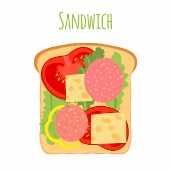 Sandwich. pomodoro, pepe, formaggio, insalata, pane tostato