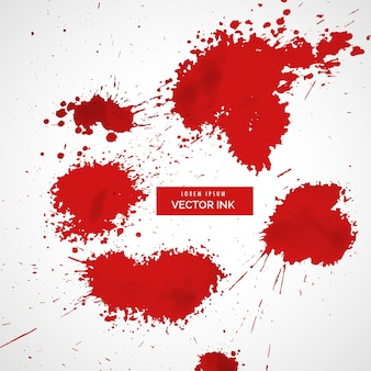 Sangue rosso set splatter vettoriale