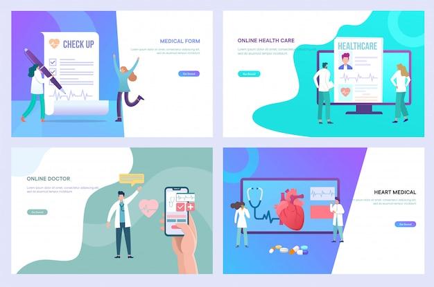 Sanità e medicina online, medico digitale, forma medica online, concetto dell'illustrazione di progettazione di telemedicina