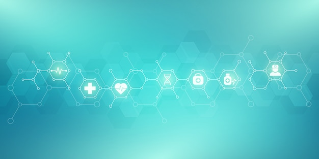 Sanità e sfondo medico con icone piatte e simboli.