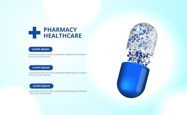 Sanità farmaceutica della capsula delle pillole della farmacia