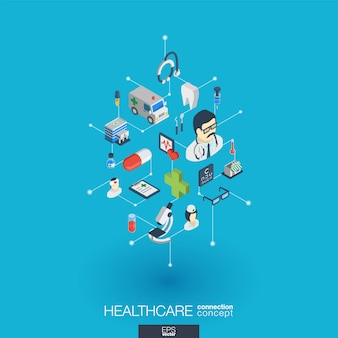 Sanità, icone web integrate. concetto di interazione isometrica rete digitale. sistema grafico di punti e linee collegato. sfondo astratto per medicina e servizio medico. infograph