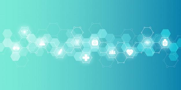 Sanità medica e scienza sfondo con icone e simboli. tecnologia dell'innovazione.