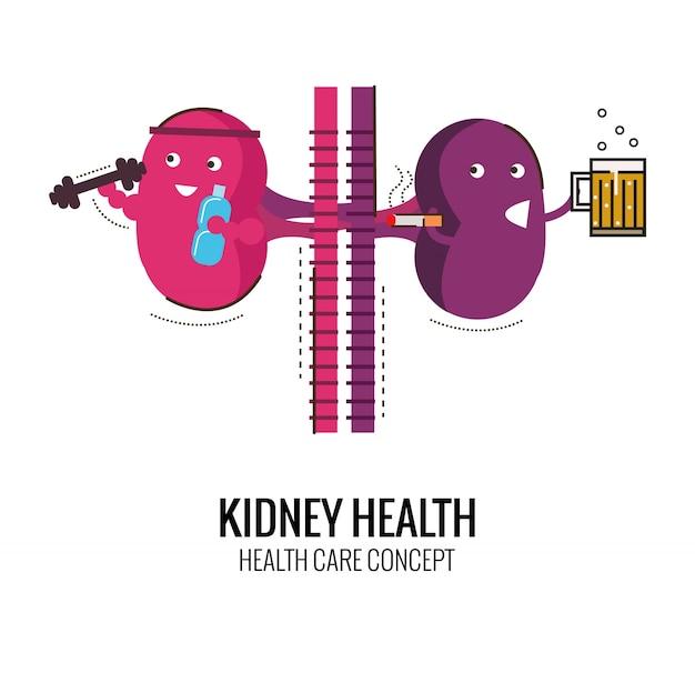Sano rene e carattere malsano del rene. pericolo di alcool e fumo. disegno piatto sottile di carattere. illustrazione vettoriale