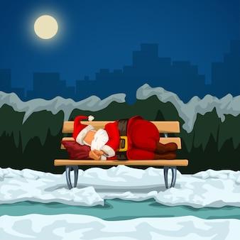 Santa che dorme sulla panchina
