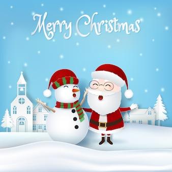 Santa con sfondo di natale pupazzo di neve e città