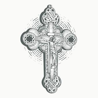 Santa croce di cristo con incisione a forma di contorno