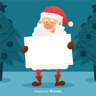 Santa disegnata a mano con cartello bianco