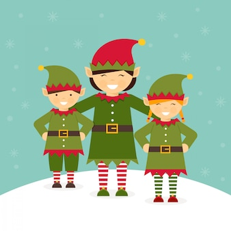 Santa elves vector