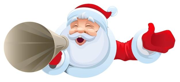 Santa grida nel megafono. vendita di natale. illustrazione isolata in formato