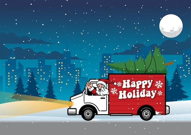 Santa guida camion nella notte