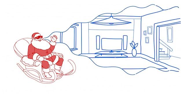 Santa in slitta indossare occhiali digitali realtà virtuale moderno salotto interno vr vision cuffia piatta