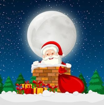 Santa in una scena di camino