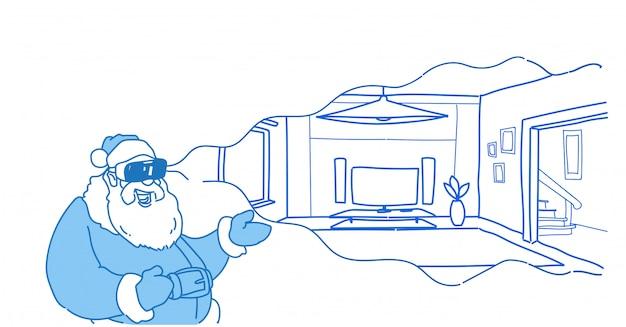 Santa indossare occhiali digitali realtà virtuale moderno salotto interno vr vision cuffia piatta