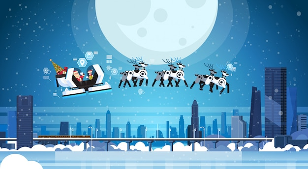 Santa volare nella moderna slitta robotizzata con intelligenza artificiale di renne robot