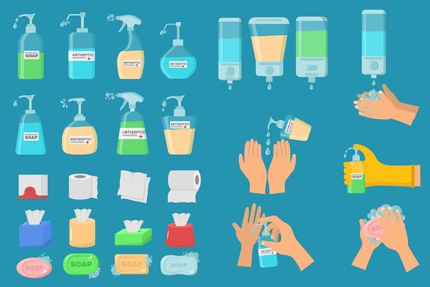 Sapone, gel antisettico e altri prodotti igienici. lo spray antisettico nel pallone uccide i batteri. set di icone di igiene. concetto antibatterico. liquido alcolico, flacone spray pompa.