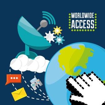 Satellite e mondo, concetto di connettività
