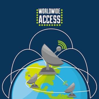 Satellite su mondo, concetto di connettività