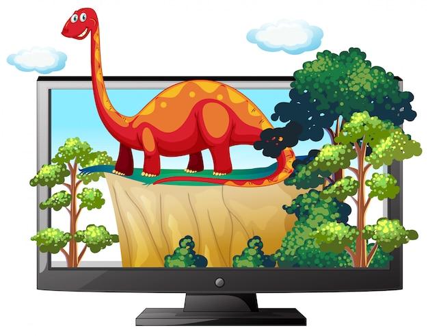 Sauropode sul monitor del computer isolato