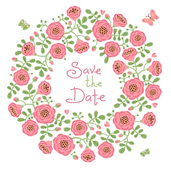 Save the date invitation with floral wreath.