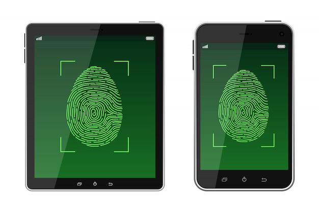 Sblocca l'illustrazione di scansione dell'impronta digitale
