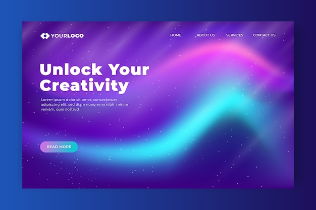 Sblocca la tua landing page sull'aurora boreale creativa