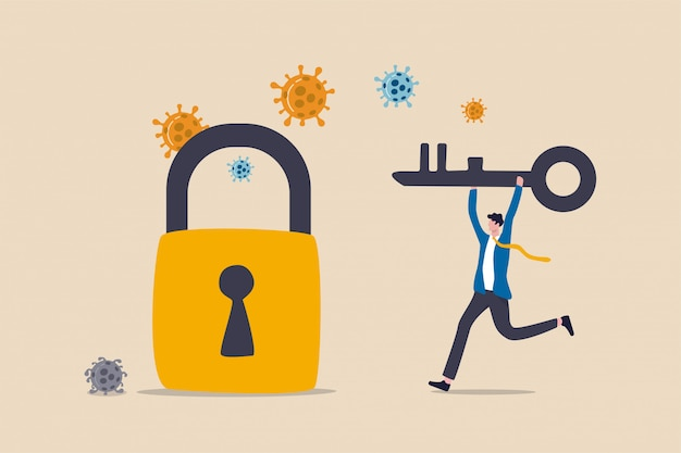 Sblocca o riapri il blocco di coronavirus covid-19, riavvia il business come al solito per ripristinare la recessione economica dopo il concetto di crash del coronavirus, leader di imprenditore in possesso di chiave per sbloccare e riaprire gli affari.